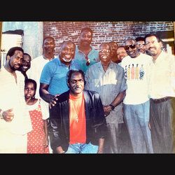 Arnold Cherry (2nd from right in sunglasses) with former President Will James (center left, light blue shirt); retired rep Nick Lucas (far left), Trevor Lyons (white shirt and gold chain),and Horace Briggs, who is quoted in this story (center rear).
