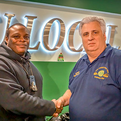 TWU Local 100 President Tony Utano thanks CTA Sean Monroe for his actions at the subway blast