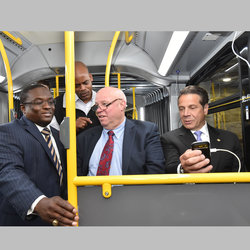 TWU Sec-Treasurer Earl Phillips Gets a View of New Digital Tech along with MTA Buses Chief Darryl Irick, MTA CEO Tom Prendergast, and Gov. Cuomo at Quill Depot