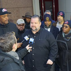 Outside the Andaz Hotel, where negotiations were underway with the MTA, Pres Samuelsen and top officers brief the news media on our tentative agreement.