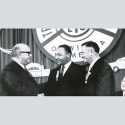 TWU Founder Mike Quill with Dr. King and former Local 100 President Matty Guinan at our 1961 Convention