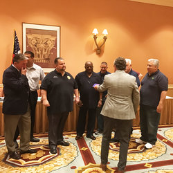 This was the scene at the International Executive Council meeting where Local 100 President John Samuelsen was named the TWU International's new President.  Also in photo, are In'tl Secretary Treasurer Alex Garcia, Admin. VP's Gary Maslanka and John Bland, and Local 100 and Int'l officers Tony Utano, John Chiarello and James Whalen.  Retiring President Harry Lombardo has back to camera.