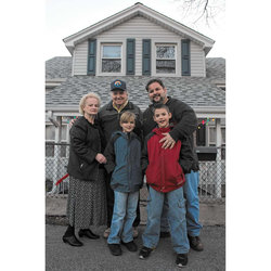 President John Samuelsen, with parents Warren and Theresa Samuelsen and sons in this 2012 photo in front of house bought by John's grandmother, Mary McMahon, when she came from the north of Ireland in the 1920's in Gerritsen Beach, Brooklyn.