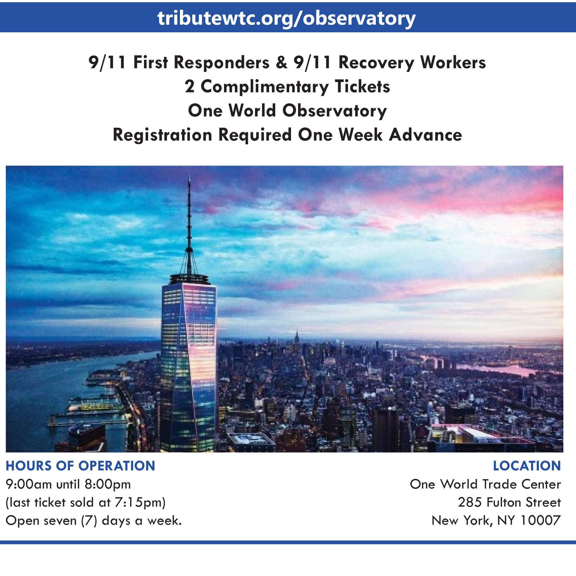 Freedom tower tickets