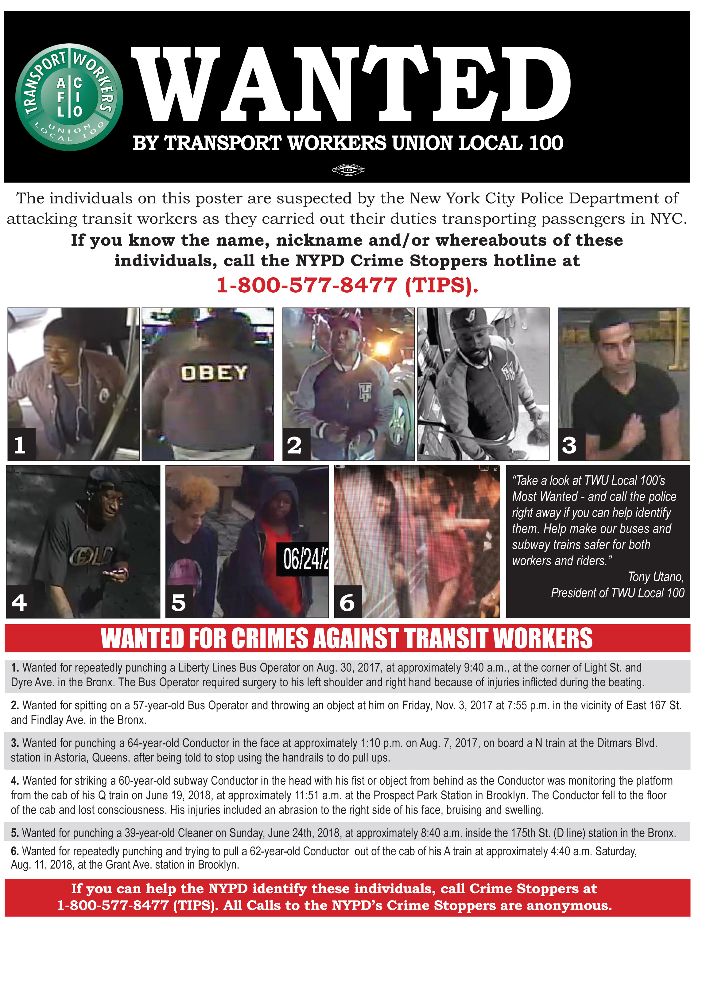 monday august 13 twu local 100 this afternoon will begin distributing most wanted posters along the a line urging riders to identify a man who